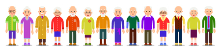 Old people isolated. Elderly man and women isolated in beautiful flat style on white background. Group of happy pensioners. Caucasian couple. Aged smiling grandma and grandpa. Standing adult team.