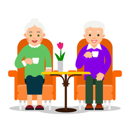 Old couple is sitting at table. Smiling grandfather and grandmother. Elderly husband and wife drinking coffee. Hot tea. Romance relationship. Illustration isolated on white background in flat style.