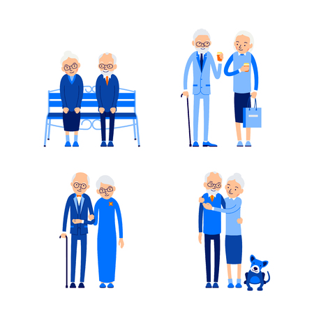 Set elderly couple. Happy retirement concept. Holiday leisure. Love, romance relationship. Caucasian people outdoor. Aged cute pensioners. Illustration isolated on white background in flat style.