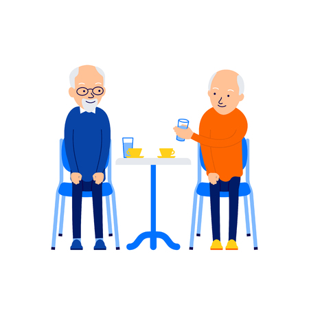 Old man drinking. Men leisure together. Modern caucasian senior drink tea or coffee. Aged friends sitting at table. Celebration concept. Illustration isolated on white background in flat style.