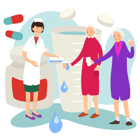 Nurse and patient. Doctor gives patient medication. Chemistry assistance therapy. Medical health care. Medicine treatment. Chemical background. Character nurse. Illustration isolated in flat style. Illustration