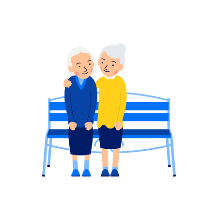 Two old women. Elderly female people. Friendship concept. Pensioners are sitting on bench. Happy retirement. Embrace. Cute cartoon character. Illustration isolated on white background in flat style.