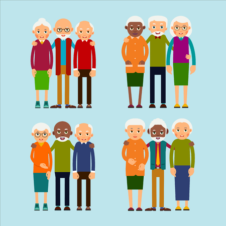Old people standing. Elderly men and women europeans and african american ethnic friends. Senior stand and hug each other. Set happy seniors. Illustration isolated on background in flat.