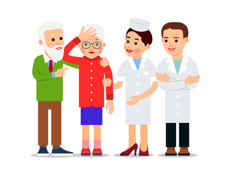 Nurse and patient. Elderly man supports sick woman who has a headache. Nearby are nurse and doctor. Medical examination. Health care, Medicine service concept. Illustration isolated in flat style.