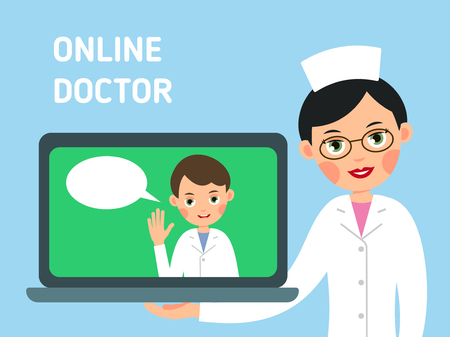 Online doctor. Concept of modern healthcare. Nurse shows you how to get medical advice with help of Internet. Service for medical education, communication and help. Illustration isolated on background in flat.