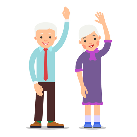 Old people with hand up. Active gesture senior couple. Grandfather and grandmother smiling. Healthy pensioner concept. Happy family. Cartoon illustration isolated on white background in flat style.