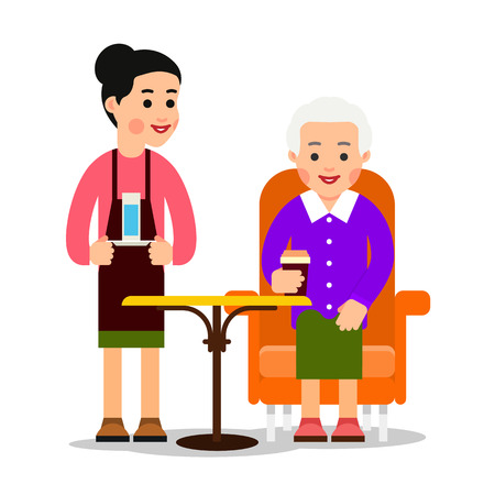 Waiter brought glass of water old woman drinking coffee. Grandmother sitting and holding coffee or tea cups. Worker serves the customer. Cartoon illustration isolated on white background in flat style.