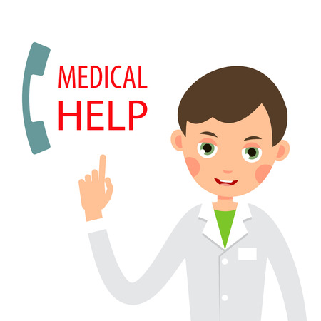 Calling doctor. Call a doctor by phone. Medical consultation by telephone. Doctor on call. Emergency on phone. Healthcare & medical concept. Illustration isolated on white background in flat.