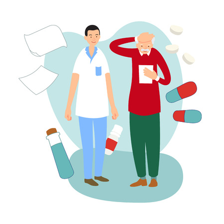 Patient reads a medical report or medication list. Doctor consultation. Practicing doctor offers treatment plan to sick elderly man. Medical appointment. Illustration on background with medicaments.