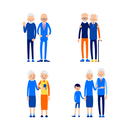 Set in modern style. Happy couple. Love, relationship, romance concept. Cheerful aged people outdoors. Senior couple smiling. Illustration of people characters isolated on white background in flat style.