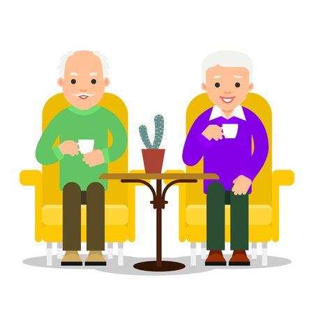 Old man drinking coffee.