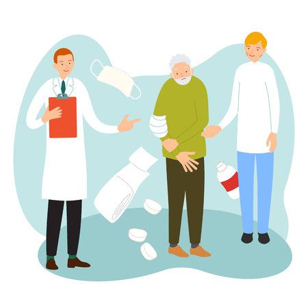 Health care concept. Medical checkup. An elderly man with sick arm surrounded by doctor and an assistant in uniform. Illustration with background with medical accessories in flat style.