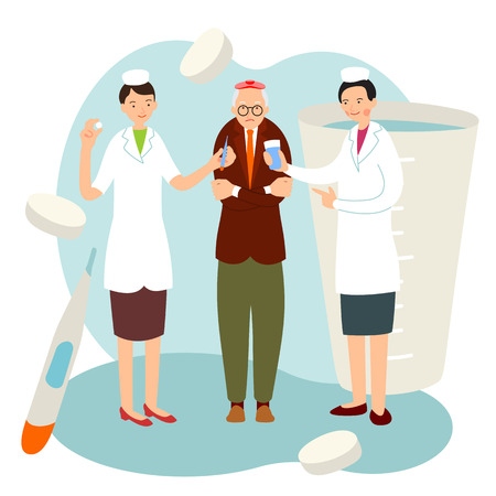 Nurse old patient in cartoon flat style. Two young nurses offer help to an older man with a sore arm. Health concept. Medical home care. Illustration with background with medical accessories.  Illustration