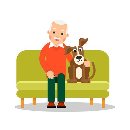 Modern old man sitting on couch next to him is a dog. Retirement concept. Leisure pensioner. Senior with adorable pet. Flat design. Cartoon illustration isolated white background. Illustration