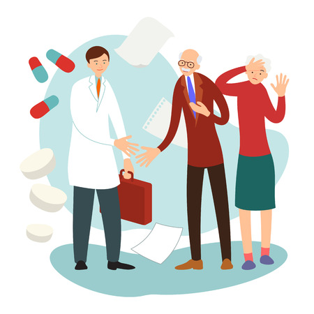 Old patients. Older people on visit to doctor. Professional consults man with sick heart and woman with sore head. Home assistance concept. Flat design. Cartoon illustration isolated white background.