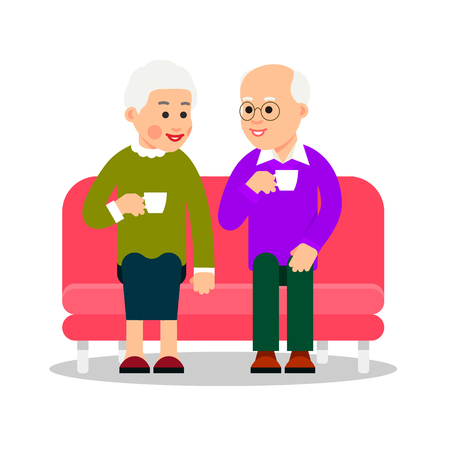 Old couple drinking coffee or tea. Older people sit on couch and drink a hot drink from cups. Elderly couple smiling. Happy retirement. Flat design. Cartoon illustration isolated white background.  Illustration