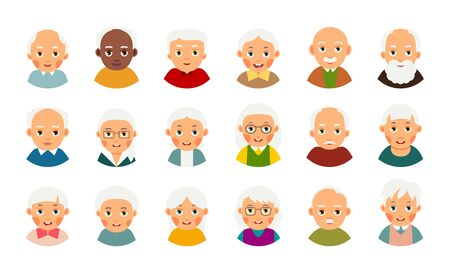 Avatar user old people. Web icon set. Modern illustration with male and female avatar user elderly people. Collection happy and smiling faces character pensioners. Isolated flat portrait on white background.  Ilustração