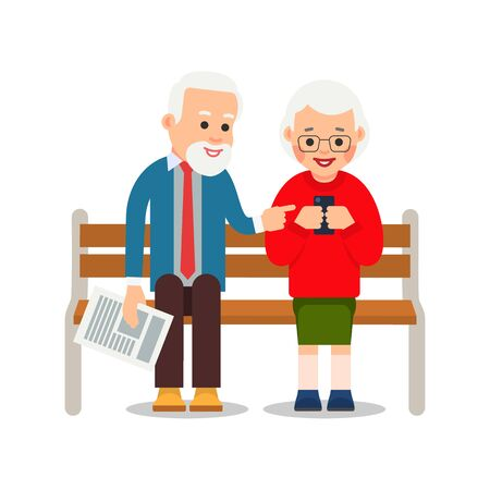 Old couple with phone. Grandmother and grandfather are sitting on bench and smiling read messages in smartphone.  Happy retirement. Cartoon illustration isolated on white background in flat style. Stock Illustratie