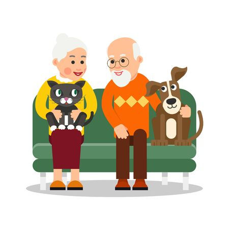 Old people with animal. Elderly couple are sitting on couch and smiling with love. Next to grandfather is dog, cat is on lap of grandmother. Illustration isolated in flat style.