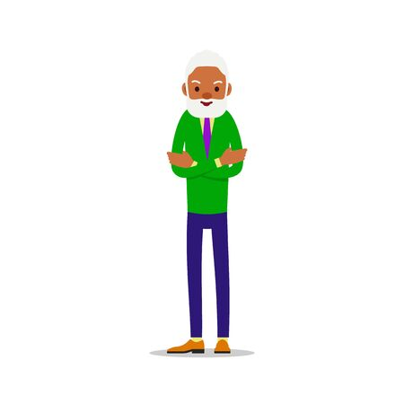 Modern african old man. Older black senior retired. Happy grandfather standing and smiling. Traditional retirement lifestyle. Cartoon illustration isolated on white background in flat style.