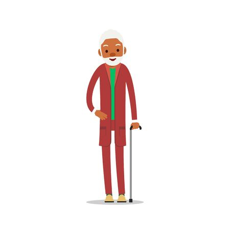 Attractive african old man. Older black senior retired. Cute grandfather standing and smiling. Traditional retirement lifestyle. Cartoon illustration isolated on white background in flat style.