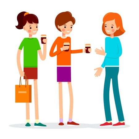 Girl drinking coffee. Three young women standing and holding coffee cups. Happy female friends. Attractive woman drinking hot tea. Cartoon illustration isolated on white background in flat style.