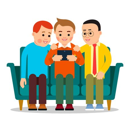 Men with tablet. Young people sit on couch and watch news on internet with help of modern electronic device. Cartoon illustration isolated on white background in flat style.
