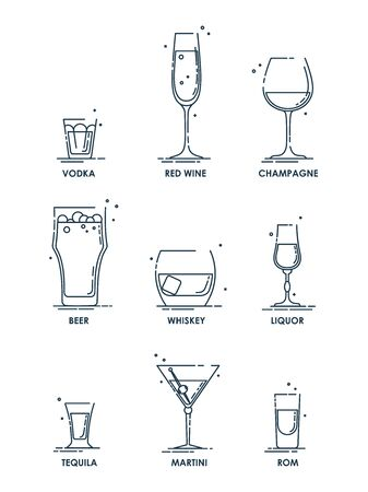 Drink glass. Alcohol concept. Beverage icon set. Line design. Vodka, wine, champagne, whiskey, liquor, beer, tequila, rom, martini. Cartoon illustration isolated on white background in flat style.