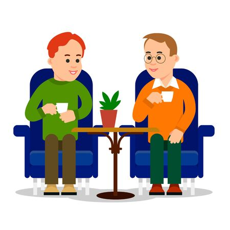 Man drinking coffee. Two young men sitting in chair in cafe and drink hot beverages. Leisure together outside of office business. Cartoon illustration isolated on white background in flat style.