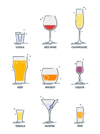Glass alcohol. Drink object. Beverage icon set. Line design. Vodka, wine, champagne, whiskey, liquor, beer, tequila, rum, martini. Line design illustration isolated on white background in flat style.  向量圖像
