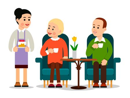 Waiter serving in flat style. Coffee cafe. Restaurant service. Food concept. Young man and woman drinking coffee, waiter brought on platter dessert. Illustration isolated on background in flat style.