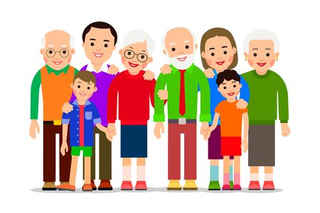 Big family portrait. Love concept. Father, mother, son, daughter, grandfather, grandmother. Children and parents. Happy childhood. Illustration of people characters isolated in flat style. Stock Vector - 137319466