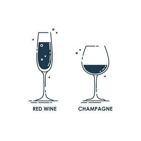 Flat illustration with wine glass line art style for celebration design. Concept drink graphic element. Simple alcoholic object as icon red wine and champagne. Vine glassware on white background.