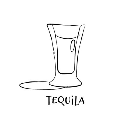 Shot tequila. Graphic art. Drink element. Black white. Retro glass tequila hand draw, design for any purposes. Restaurant illustration. Simple sketch. Isolated on white background in engraving style.