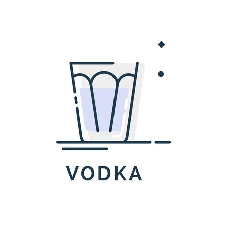 Vodka glass flat line in linear style on white background. Beverage icon. Information design. Trendy design. Isolated object. Outline object. Illustration transparent background. Party drink concept.
