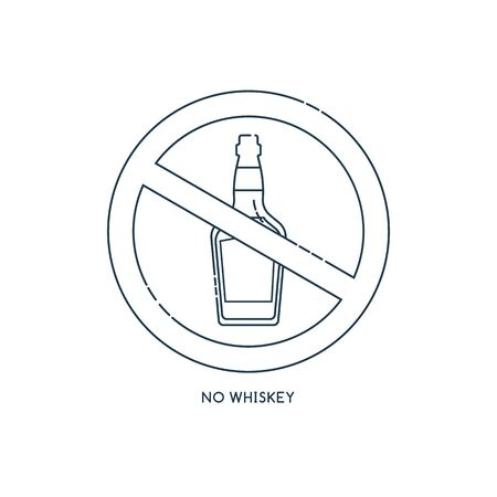 Prohibition alcohol. Sign no whiskey. Color illustration of a glass of whiskey in red crossed circle. Ban beverage flat line in modern style. Warning symbol icon. Stop drunk, alcohol illustration. Ilustrace