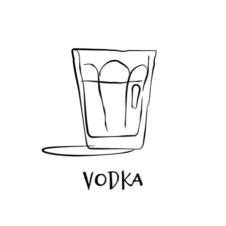 Shot vodka. Retro glass vodka hand draw, design for any purposes. Graphic art. Drink element. Black white. Restaurant illustration. Simple sketch. Isolated on white background in engraving style.