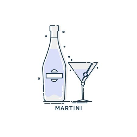 Bottle and glass martini line art in flat style. Restaurant alcoholic illustration for celebration design. Design contour element. Beverage outline icon. Isolated on white background in graphic style Ilustrace