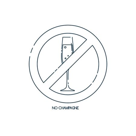 Glass champagne in line art style for concept design. Ban graphic element. No alcohol. Graphic outline label. Modern thin contour line design concept. Stop symbol icon. Flat outline illustration.
