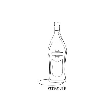 Bottle vermouth in hand drawn style. Restaurant illustration for celebration design. Retro sketch. Line art. Design element. Beverage outline icon. Isolated on white background in graphic stroke.