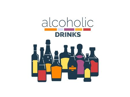Collection alcoholic drinks. Alcohol bottles stand in row. White background. Illustration isolated. Flat design style with fill. Beer champagne wine whiskey liquor vodka martini whiskey rum tequila.