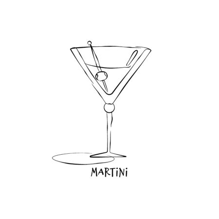 Wineglass martini. Drink element. Black white. Retro glass martini hand draw, design for any purposes. Restaurant illustration. Simple sketch. Isolated on white background in engraving style.