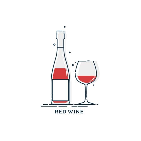 Bottle and glass red wine line art in flat style. Restaurant alcoholic illustration for celebration design. Design contour element. Beverage outline icon. Isolated on white background.