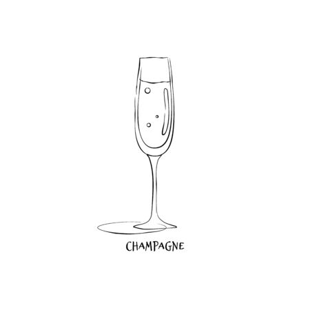 Wineglass champagne. Drink element. Black white. Retro glass champagne hand draw, design for any purposes. Restaurant illustration. Simple sketch. Isolated on white background in engraving style.