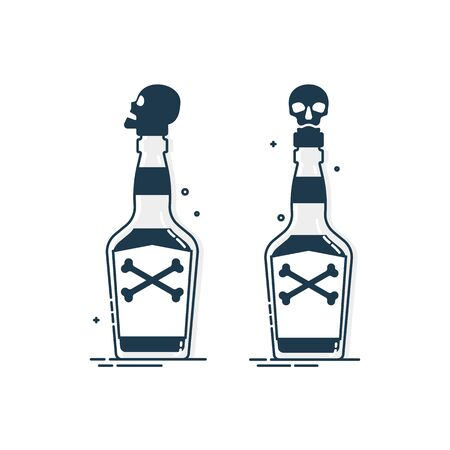 Bottle poison alcohol skull for concept design. Dangerous container. Potion beverage bar drink concept. Alcohol addiction icon. Venom, danger symbol. Isolated illustration in white background.