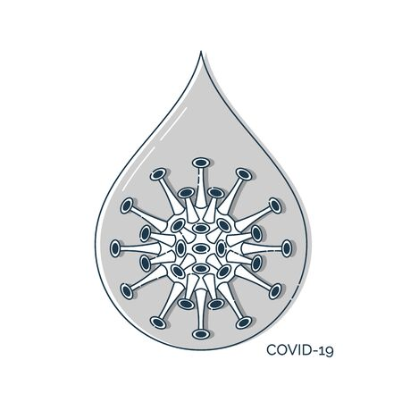 Flat illustration with drop covid virus infection. Medicine hygiene concept. Drop with coronavirus, great design for any purposes. Influenza pandemic. Isolated line art design on white background.