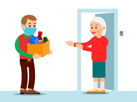 Young man in rotective medical mask brought food to an elderly woman. Parents find themselves in isolation due to coronavirus epidemic. Help old people concept. Illustration on white background.