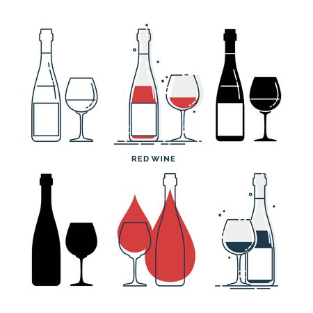 Set of bottles and glasses with red wine in different styles. Template alcohol beverage for restaurant, bar, pub. Symbol party. Collection one drink. Isolated flat illustration on white background. Иллюстрация