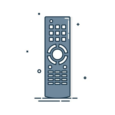 Remote control. Technology communication switch button. Program device. Wireless keyboard. Isolated flat illustration on white background. Universal electronic controller.