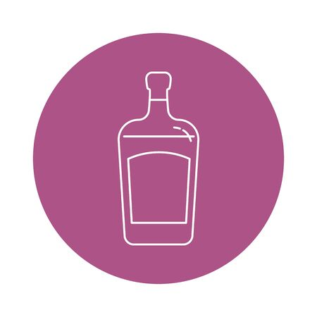 Illustration of bottle of liquor in flat style in form of thin lines. In the form of background is circle of color drinks. Isolated object design beverage. Simple icon for restaurant, pub, party. Vettoriali